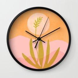 Desert Moon With Agave / Abstract Landscape Wall Clock