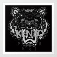kenzo Art Prints featuring black Tiger Kenzo by cvrcak