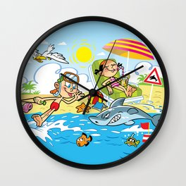 Beach Cartoons Wall Clock