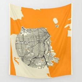 San Francisco Map Moon Wall Tapestry