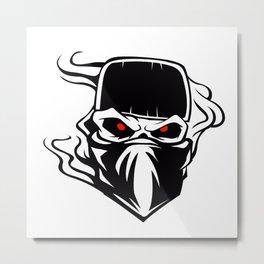 Skull bandana hat Outlaw Metal Print