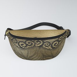 Black floral luxury lace on gold effect metal background Fanny Pack