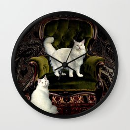 White Cats and Green Velvet Wall Clock