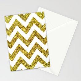 GOLD GLITTER CHEVRON Stationery Cards