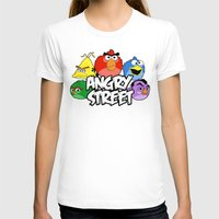 sesame street T-shirts featuring Angry Street: Angry Birds and Sesame Street Mashup by Olechka