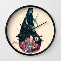 kpop Wall Clocks featuring Night Time. by Karl James Mountford