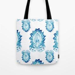 Blue Paisley Watercolor Motif Tote Bag