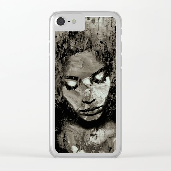 Melancholy and the Infinite Sadness Black and White Clear iPhone Case