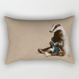 Badger Knitting a Scarf Rectangular Pillow