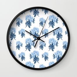 Blue Rhododendron Wall Clock