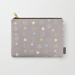Pastel brown pink yellow Christmas snow flakes stars pattern Carry-All Pouch