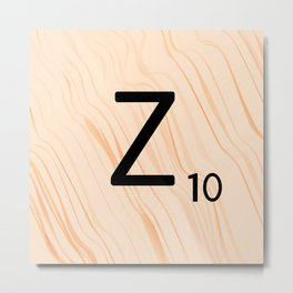 Scrabble Letter Z - Scrabble Art and Apparel Metal Print
