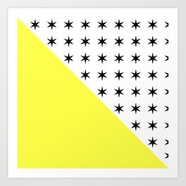 Black Stars And Sunshine Yellow - Colourful pattern Art Print