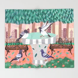 Pigeons in Central Park Throw Blanket