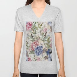 Watercolor Floral Unisex V-Neck