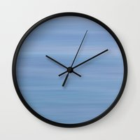 blues Wall Clocks featuring Pacific Ocean Blues by Horizon Studio