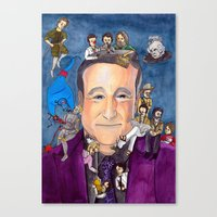 robin williams Canvas Prints featuring Robin Williams  by Aviva Bubis Art and Stuff