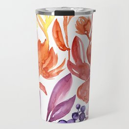 Floral abstract and colorful watercolor illustration Travel Mug