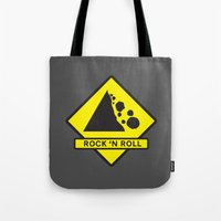 rock n roll Tote Bags featuring Rock 'n Roll by Franz24