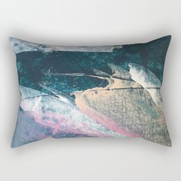 Karma [1]: a vibrant, abstract mixed-media piece in pink, peach, white and teal Rectangular Pillow