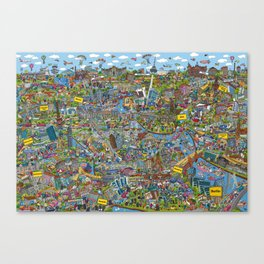 Illustrated map of Berlin Canvas Print