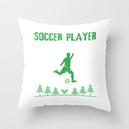 Soccer Player Ugly Sweater Christmas Sports Gift Throw Pillow