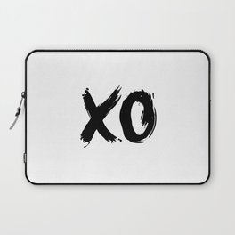 XO Hugs and Kisses black and white xoxo gift for her girlfriend bedroom art and home room wall decor Laptop Sleeve