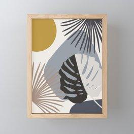 Minimal Yin Yang Monstera Fan Palm Finesse #2 #tropical #decor #art #society6 Framed Mini Art Print