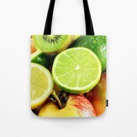 fruits Tote Bags featuring Fruits by Vic Torys
