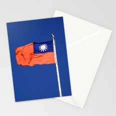 The flag of Taiwan, Republic of China against a blue sky Stationery Cards