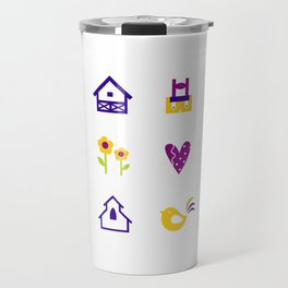 New folk icons : blue yellow Travel Mug