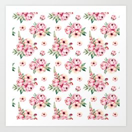 Pink Flower Party Pattern Art Print