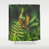 bali Shower Curtains featuring Butterfly, Bali by Dominique Felicity Photography