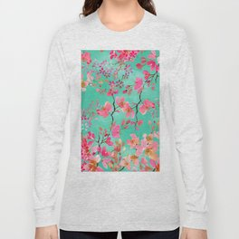 Elegant hand paint watercolor spring floral Long Sleeve T-shirt