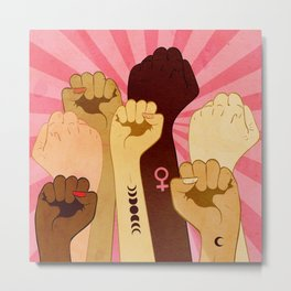 Female hands with fist raised up, retro style illustration Metal Print