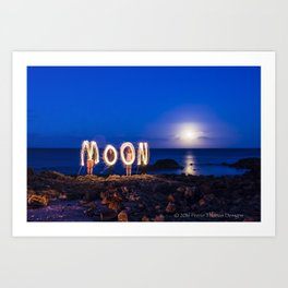 MOON - Light painting with Sparklers Art Print
