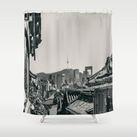 seoul Shower Curtains featuring Seoul Cityscape by Jennifer Stinson