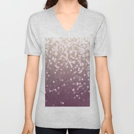 PLUM PURPLE AND GOLD CHAMPAGNE GLITTER LIGHTS Unisex V-Neck