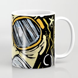 OLD MAN BLIMPSTACHE LINOCUT Coffee Mug