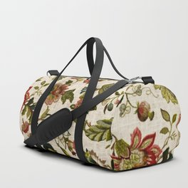 Red Green Jacobean Floral Embroidery Pattern Duffle Bag