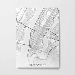 New York NY Map White Metal Print