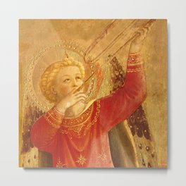 """Fra Angelico (Guido di Pietro) """"Music-making angel, Detail from the Linaioli Tabernacle"""" 10. Metal Print"""