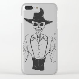 Gangster skull - grim  reaper cartoon - black and white Clear iPhone Case