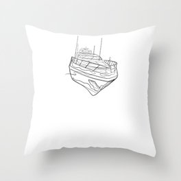 Ship Yacht - One Line Drawing Throw Pillow