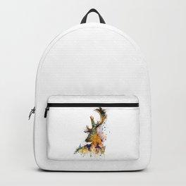 Deer Head Watercolor Silhouette Backpack