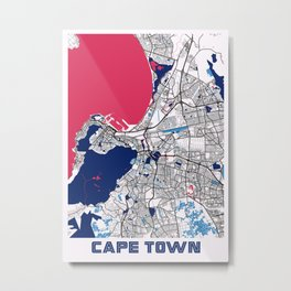 Cape Town - South Africa MilkTea City Map Metal Print