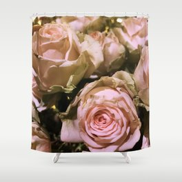 Shabby Chic Soft Peach-Pink Roses Shower Curtain