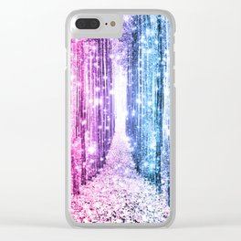 Magical Forest : Pastel Pink Lavender Aqua Periwinkle Ombre Clear iPhone Case