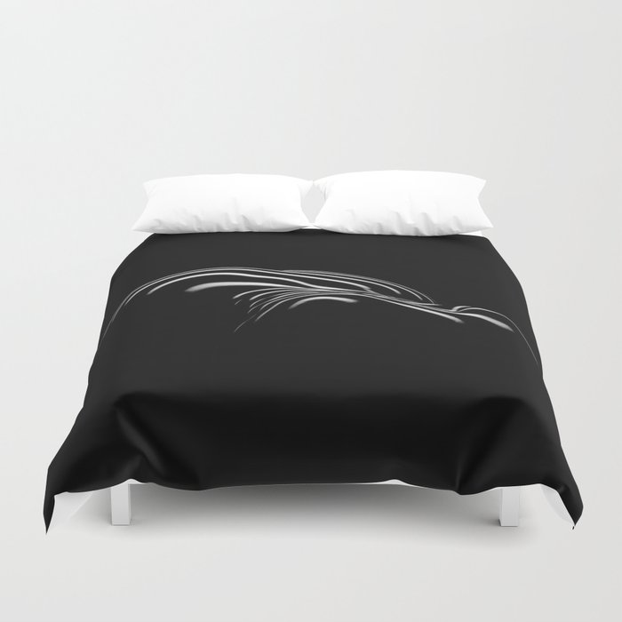 0694- Nude Female Naked BBW Geometric Black White Naked Body Big Abstracted Sensual Sexy Erotic Art Duvet Cover