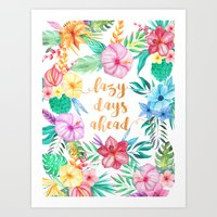 Lazy Days Ahead Floral Watercolor Collage Pattern Art Print